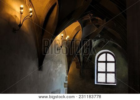 Vaulted Ceiling In The Gothic Cathedral And The Ancient Elements Of The Decor In The Medieval Style.