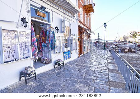 Hydra Island Greece, May 27 2016: Touristic Shops With Accessories And Souvenirs At Hydra Island Sar