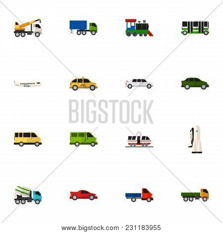 Set Of 16 Editable Vehicle Icons Flat Style. Includes Symbols Such As Lorry, Plane, Train And More.