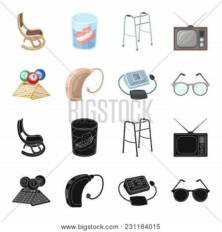 Lottery, Hearing Aid, Tonometer, Glasses.old Age Set Collection Icons In Black, Cartoon Style Vector
