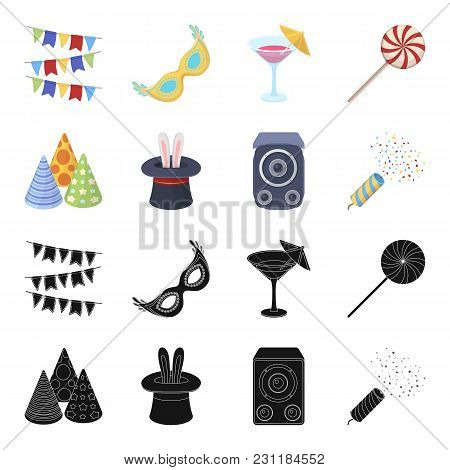 Tricks, Music And Other Accessories At The Party.party And Partits Set Collection Icons In Black, Ca