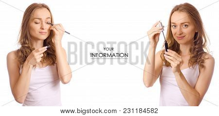 Beautiful Young Woman In The Hands Of Mascara Eye And Eyeshadow Beauty Set Pattern On White Backgrou