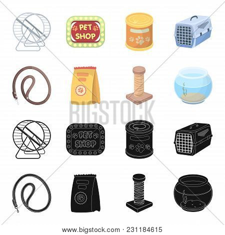 Leash, Feed And Other Zoo Store Products.pet Shop Set Collection Icons In Black, Cartoon Style Vecto