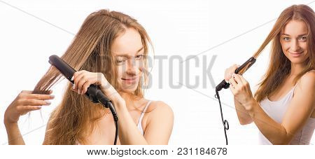 Beautiful Young Woman Holding A Iron For Straightening Hair In Hands Beauty Set On A White Backgroun