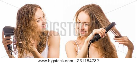 Beautiful Young Woman Hairdryer Hair Curler In Hands Beauty Set On White Background Isolation