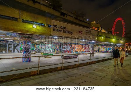London, Uk - December 28, 2017: Youth Culture With Graffiti Paintings In Skateboard Park Located In