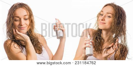 Beautiful Young Woman Wet Hair Spray For Hair Beauty Set On White Background Isolation