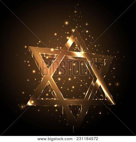 Star Of David Golden Glass , Shining Glitter Lighting In The Dark. Jewish Symbol , Vector Element .