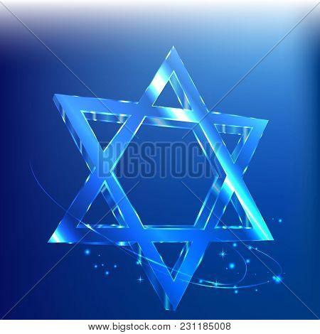 Big Star Of David , Glass Tamplate . Judaica Symbol Wiht Lights