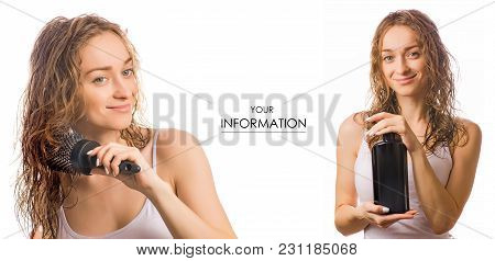 Beautiful Young Woman With Hair Comb And Bottle Shampoo In Hands Beauty Set Pattern On White Backgro