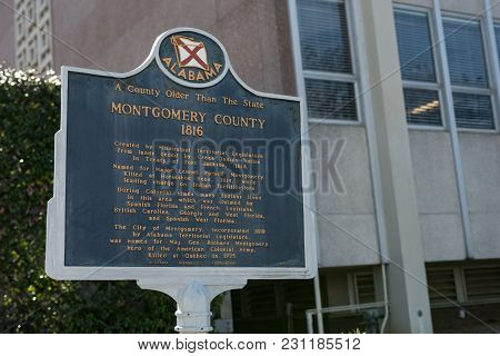 Montgomery, Alabama, Usa - January 20, 2018: Historic Marker Telling The Story Of The Creation Of Mo
