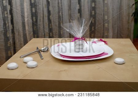 Decorated Plate With Cutlery For Wedding And Other Kinds Of Festivities