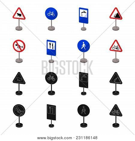 Different Types Of Road Signs Black, Cartoon Icons In Set Collection For Design. Warning And Prohibi