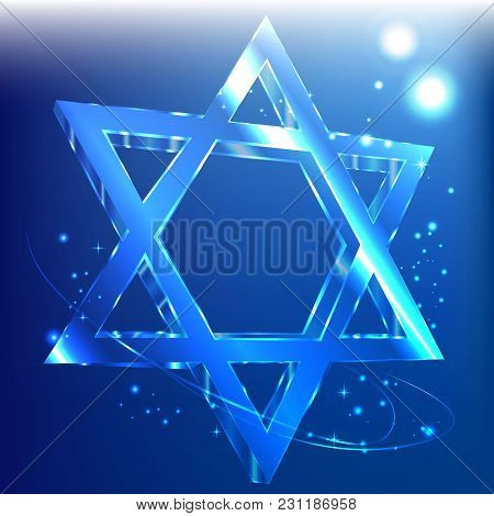 Blue Star Of David , Glass Jewish Symbol Abstract Background.