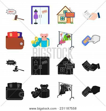 Purse With Credit Cards And Other  Icon In Black, Cartoon Style. Gift Sale Of Things, Button More Ic