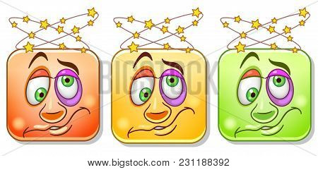 Dizzy Emoji With Headache And Spinning Stars. Emoticons Collection. Colorful Smiley Set. Avatar Symb