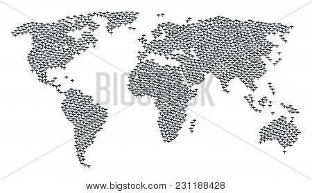 Global Map Composition Constructed Of Aircraft Pictograms. Vector Aircraft Pictograms Are Combined I