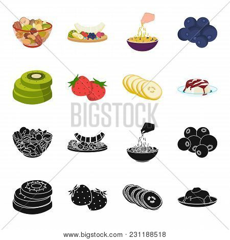 Fruits And Other Food. Food Set Collection Icons In Black, Cartoon Style Vector Symbol Stock Illustr