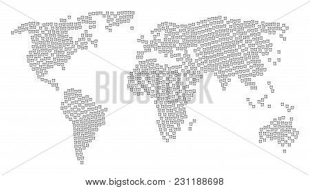 Global World Map Mosaic Created Of Alarm Clock Icons. Vector Alarm Clock Elements Are Composed Into