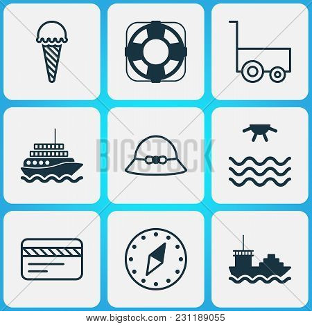 Travel Icons Set With Compass, Summer Hat, Carry Wagon And Other Freight Trolley Elements. Isolated