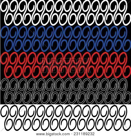 Set Of Lines And Loops For Framing Frames. Black And White Loops With Blue And Red Elements For Mari