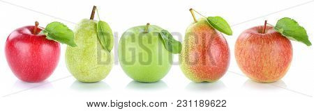 Apple Pear Fruits Apples Pears Fresh Fruit In A Row Isolated On White