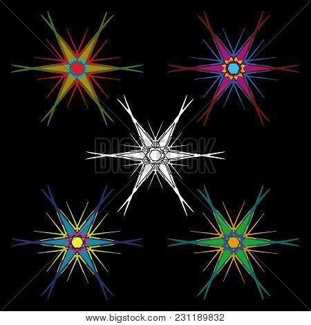 A Set Of Hexagonal Colorful Stars With Long Ends. Ornament For Snowflakes Or Stars For Decoration Of