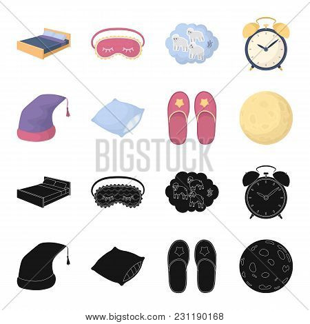 Night Cap, Pillow, Slippers, Moon. Rest And Sleep Set Collection Icons In Black, Cartoon Style Vecto