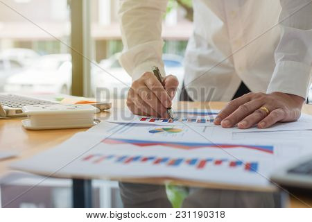 Business Man Working With Office Finance Documents
