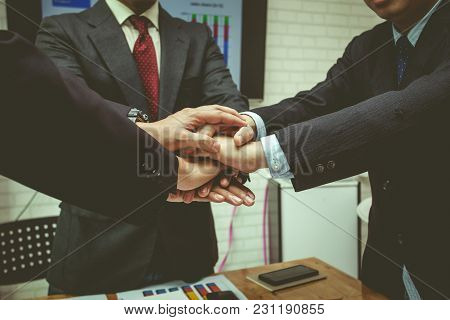 Business Teamwork To Cooperate In The Work In The Enterprise.