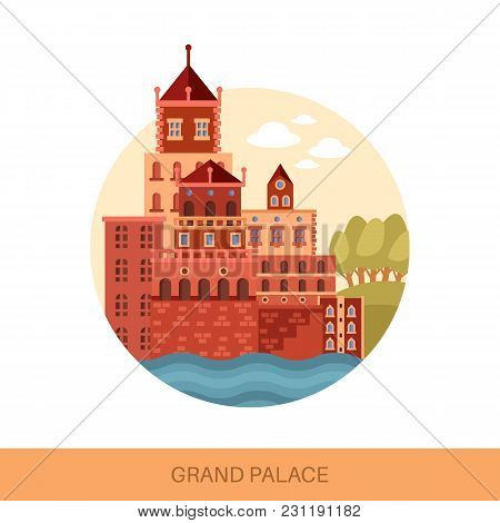 Grand Royal Palace Building Exterior View. Cartoon Old Construction For King And Queen. Medieval Lan
