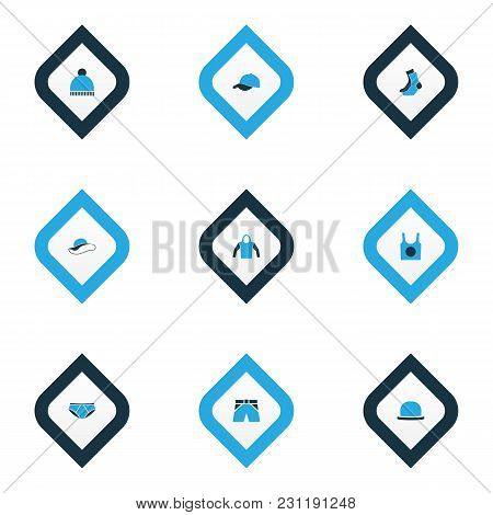 Clothes Icons Colored Set With Singlet, Briefs, Hat And Other Sweatshirt Elements. Isolated  Illustr