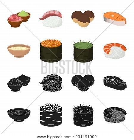 Bowl Of Soup, Caviar, Shrimp With Rice. Sushi Set Collection Icons In Black, Cartoon Style Vector Sy