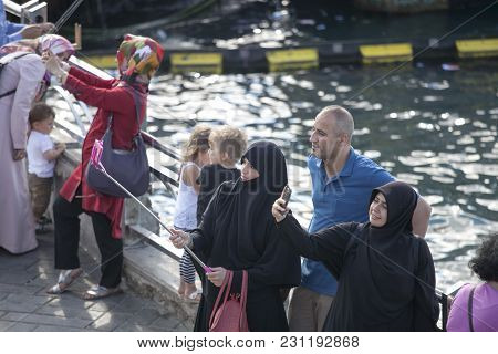 Istanbul Turkey 05 July 2017 Women In Hijab Make Selfie On The Background Of The Sea