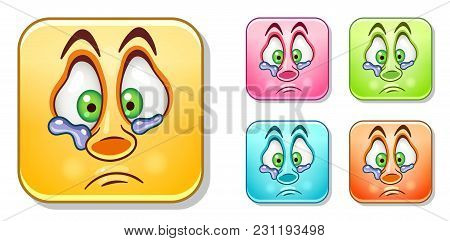Sad Lonely Crying Emoji. Emoticons Collection. Colorful Smiley Set. Avatar Symbol, Internet Message