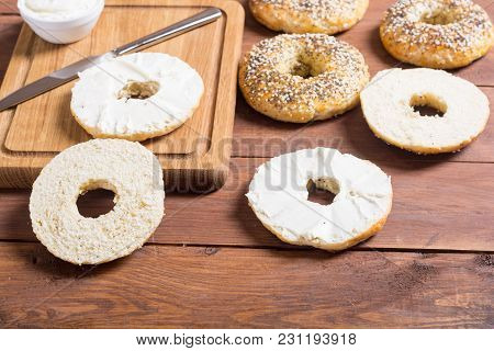 Healthy Homemade Bagels With Cream Cheese . Food Background