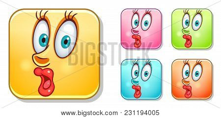 Surpised Female Emoji. Emoticons Collection. Colorful Smiley Set. Avatar Symbol, Internet Message Or