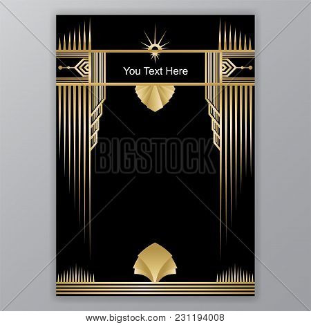 Art Deco Template Golden-black, A4 Page, Menu, Card, Invitation, Sun And Leaf In Artdeco/art Nuvo St