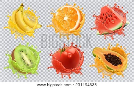 Orange, Kiwi Fruit, Banana, Tomato, Watermelon, Papaya Juice. Fresh Fruits And Splashes, 3d Vector I