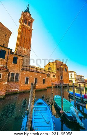Chioggia Town In Venetian Lagoon, Boats, Water Canal And Church. Veneto, Italy, Europe