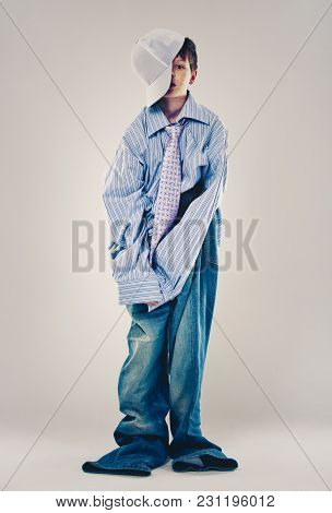 Funny Boy Wearing Dad's Clothes