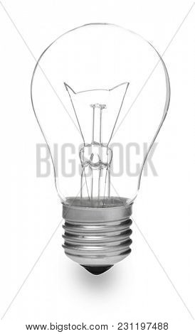 Incandescent lamp on white background
