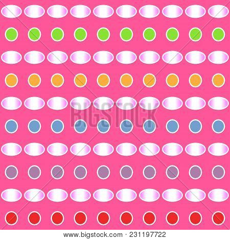 Abstract Colorful Gradient Pattern Of Circle And Ellipse Shapes On Pink Background. Vector Illustrat