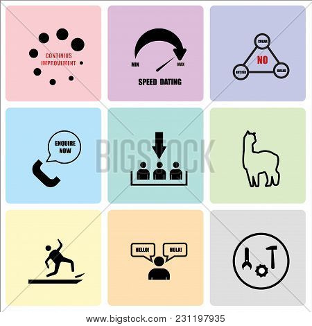 Set Of 9 Simple Editable Icons Such As After Sales Support, Bilingual, Anti Slip, Alpaca, Customer A