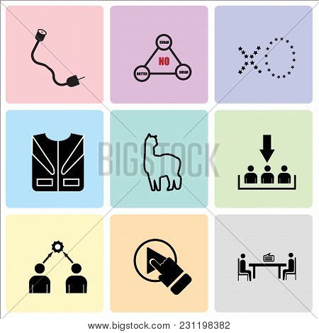 Set Of 9 Simple Editable Icons Such As Consulting, One Stop Solution, Conflict Of Interest, Customer