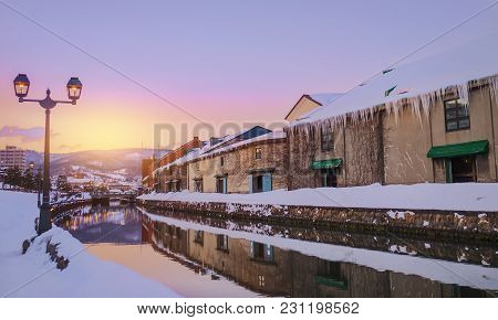 View Of Otaru Canel In Winter Season With Sunset, Hokkaido - Japan