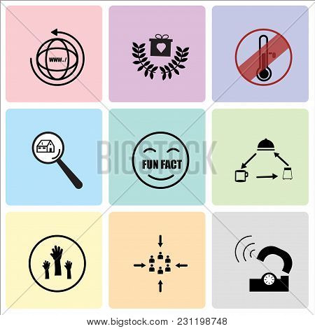 Set Of 9 simple editable icons such as telco, customer centric, get involved, horeca, fun fact, monopoly house, antifreeze, loyalty program, website, can be used for mobile, web UI poster