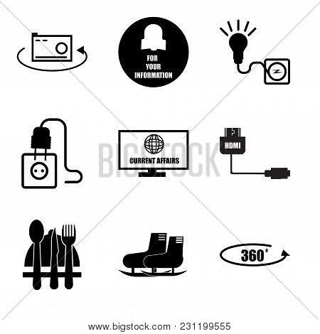 Set Of 9 Simple Editable Icons Such As 360 Photo, Snowshoe, Horeca, Mini Hdmi, Current Affairs, Junc