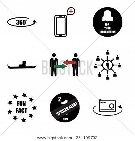 Set Of 9 Simple Editable Icons Such As 360 Photo, Spoiler Alert, Fun Fact, Customer Centric, Conflic