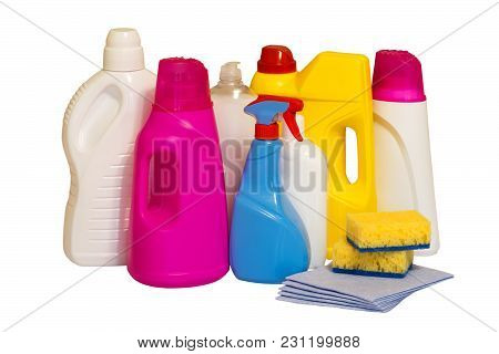Set Of Multi-colored Plastic Containers For Household Chemicals, Cleaning Products For Home Use. Iso